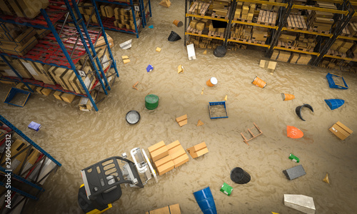 Fotografiet interior of a warehouse full of goods damaged by a flood of water