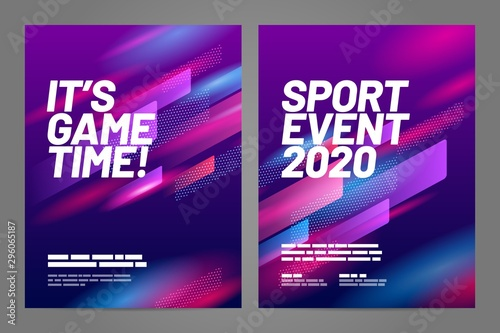 Cuadros en Lienzo Template design with dynamic shapes for sport event, invitation, awards or championship
