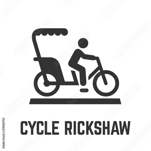 Fototapeta Cycle rickshaw or bike taxi icon with velotaxi and driver, human powered pedicab or carry bikecab for hire symbol