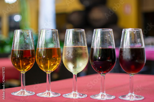 Fotografie, Obraz Sherry wine tasting, selection of different jerez fortified wines from dry to ve