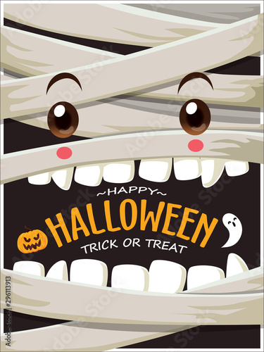 Canvas Vintage Halloween poster design with vector mummy, ghost character