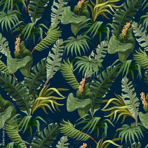 Obraz premium Wzór z dżungli drzew i kwiatów. Wektor.