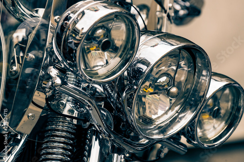 Photo KIEV, UKRAINE  - 5 OCTOBER, 2019: Harley Davidson motorcycle gear elements close-up shot