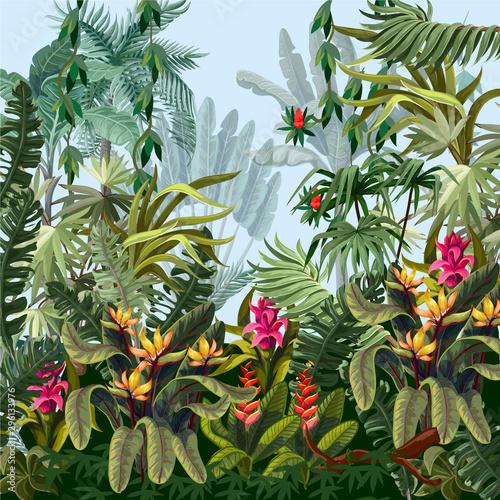 Obraz premium Granica dżungli drzewami i kwiatami