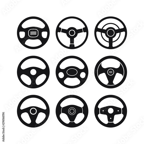 Wallpaper Mural Set of Steering wheel icon isolated on white background