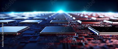 Obraz na płótnie Printed circuit board futuristic server/Circuit board futuristic server code processing