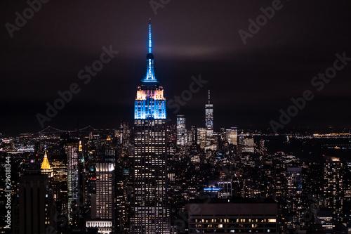 Billede på lærred New York, New York, USA night skyline, view from the Empire State building in Manhattan, night skyline of New York