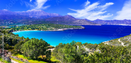 Obraz na płótnie Most beautiful beaches of Crete island -Istron bay near Agios Nikolaos, Greece