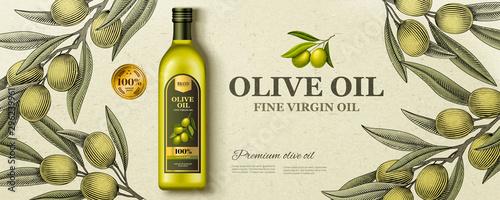 Stampa su Tela Flat lay olive oil ads