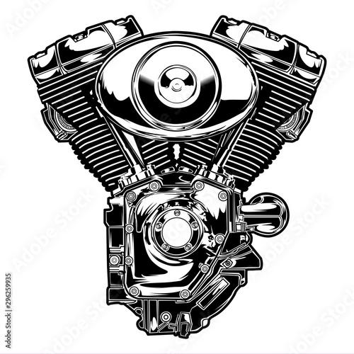 Valokuva Engine twin motorbike vector illustration motor speed american bike chopper