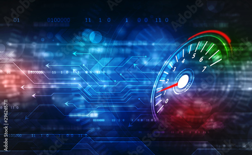 Speed motion background with fast speedometer car. Racing velocity background, Digital Abstract technology background