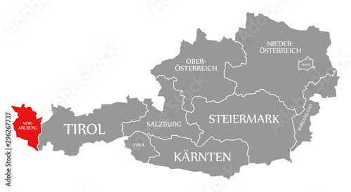 Canvas Print Vorarlberg red highlighted in map of Austria