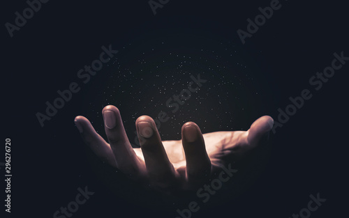 Fotografie, Tablou Praying hands with faith in religion and belief in God on blessing background