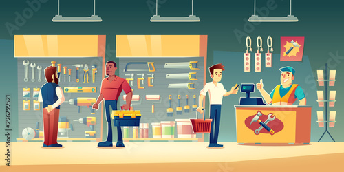 Customers in tools store, hardware construction shop buyer communicate with salesman near showcase shelves with diy instruments for carpentry works. Man pay on counter desk Cartoon vector illustration
