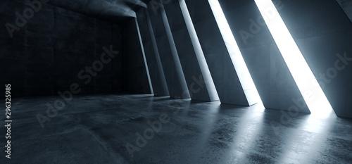 Fototapeta premium Ogromna Duża Ciemna Sala Garaż Tunel Korytarz Samochód Puste Studio Tło Białe Windows Światło Blask Cement Asfalt Beton Grunge Ciemny Wysoki Renderowanie 3D