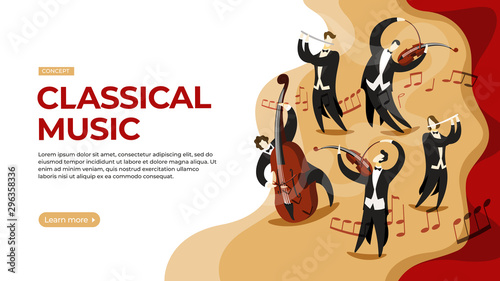 Musicians play classical music on stage.