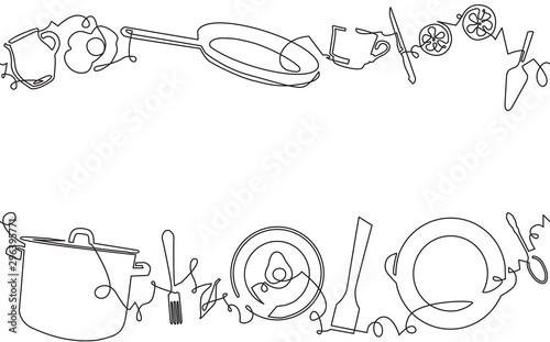 Fotografiet Background with Utensils and Food