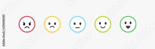 Set of vector emoticons with different emotions. Feedback scale, customer review and assessment of goods or services quality. Round emoji with bright colorful contour, vector flat illustration.