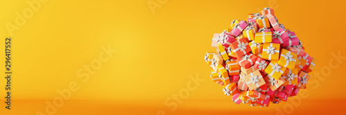 Infinite gift boxes, Christmas and party theme, original 3d rendering illustration