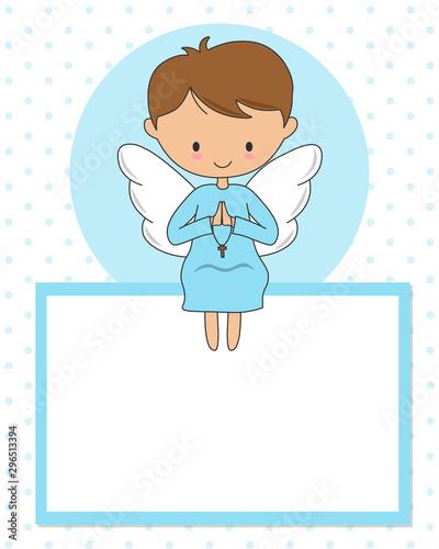 Praying angel sitting in a blank frame Fotobehang