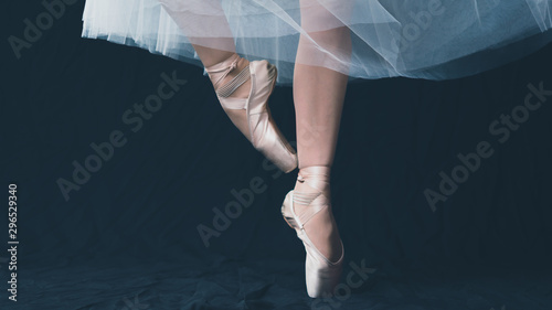 Canvas Print Close-up of dancing legs of ballerina wearing white pointe on a black background