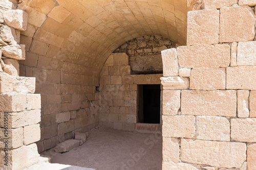 Fotografie, Obraz Entrance  to the Roman era burial chamber on the ruins of the Nabataean city of Avdat, located on the incense road in the Judean desert in Israel