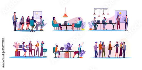 Cuadros en Lienzo Corporate discussion illustration set