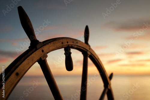Photo Vintage Ship Rudder in Sunset Light.