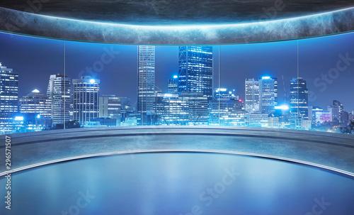 Stampa su Tela Empty unfurnished futuristic round shape interior design room