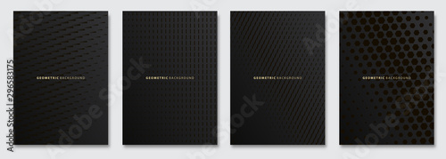 Vector abstract background, creative subtle halftone patterns, geometric gradient texture. Deluxe Minimal pattern design. Dark colors. Modern Cover templates set.
