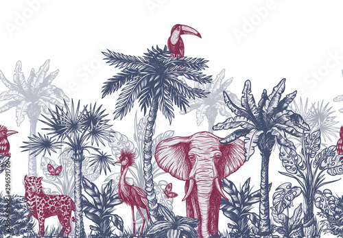 Seamless border with graphical tropical tree such as palm, banana and jungle animals. Vector.