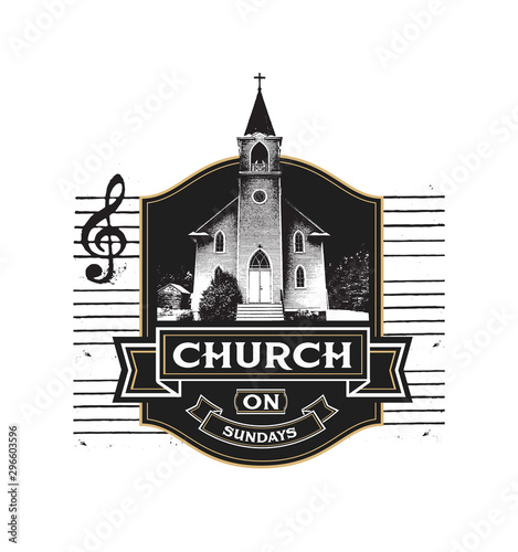 Canvas Print Church on Sundays with Music Staff in Background in Country Setting from Song Re