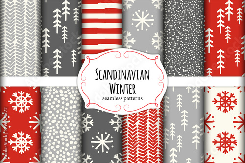 Cute Scandinavian Winter hand drawn seamless patterns set
