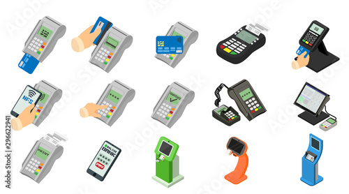 Fotografie, Obraz Bank terminal icons set