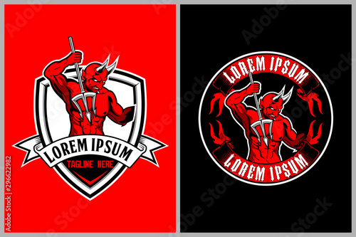 Photographie red devil with horns vector logo template