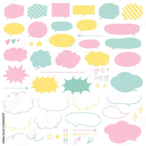 手描き吹き出しセット パステルカラー / speech bubble, speech balloon Fototapete