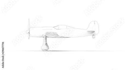 Billede på lærred Line illustration of a world war 2 fighter airplane isolated in white background
