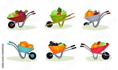 Tableau sur Toile Garden Wheelbarrows Full of Fresh Vegetables Illustrated Set.