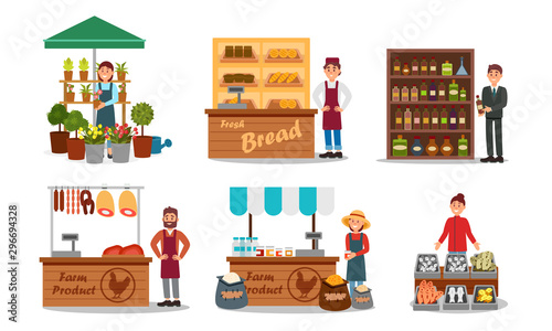 Photo Vendors Characters Selling Farm Products Vector Illustrated Set