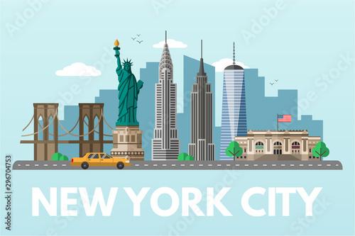 Ilustracja wektorowa płaskie miasto Nowy Jork