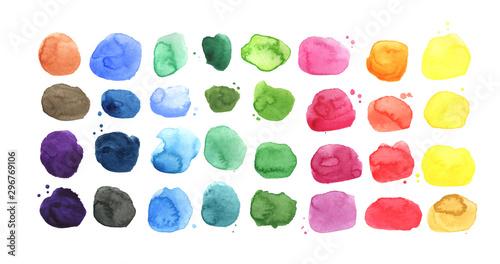 Canvas Print Set of watercolor spots, watercolor palette
