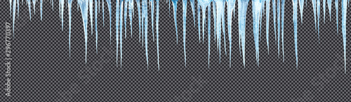 Fotografia icicles hanging downisolated with precise clipping path included