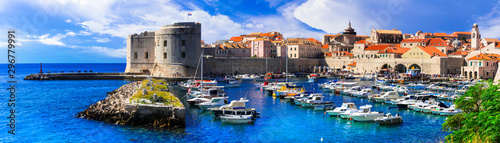 Fotografiet Landmarks of Croatia- splendid Dubrovnik