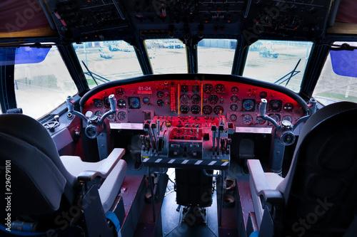 Canvas Print Cockpit Militärflugzeug Flugzeug Instrumente