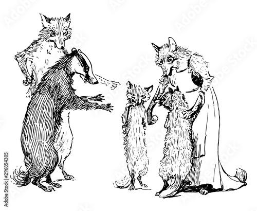 Fotografija Reynard the Fox: Reynard Family vintage illustration