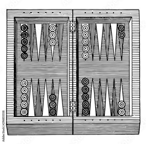 Tela Backgammon vintage illustration.