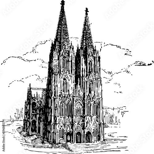 Cologne Cathedral vintage illustration.