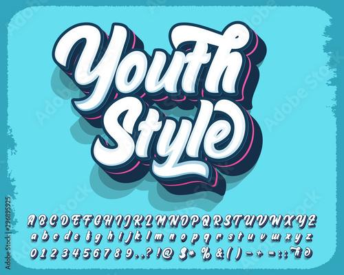 Modern style script font and number Fototapeta