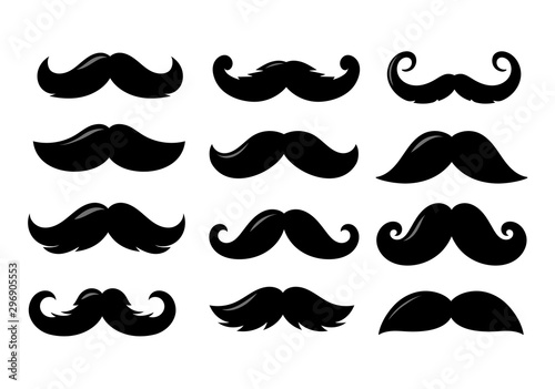 Canvas Print Black sillhouettes of moustache vector collection isolated on white background