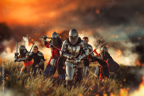 Canvas Medieval knights on battle field
